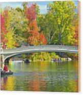 Autumn At Bow Bridge Central Park Wood Print