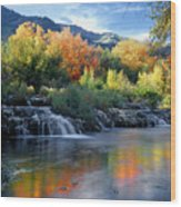 212m47-autumn At Cascade Springs  Wood Print