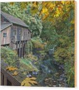 Autumn At Cedar Creek Grist Mill Wood Print