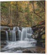 Autumn At Dunloup Creek Falls Wood Print