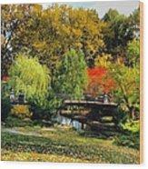 Autumn At Lafayette Park Bridge Square Wood Print