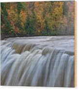 Autumn At The Middle Falls  Wood Print