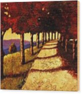 Autumn Avenue Wood Print