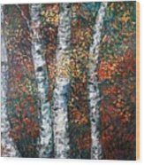 Autumn Birch Wood Print