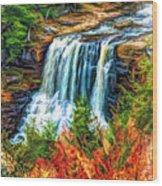 Autumn Blackwater Falls - Paint 3 Wood Print