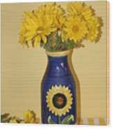 Autumn Blossoms And Blue Vase Wood Print