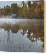 Autumn Boathouse Wood Print