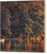 Autumn Boating At Argyle Lake Wood Print