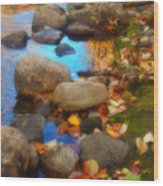 Autumn By The Creek Wood Print