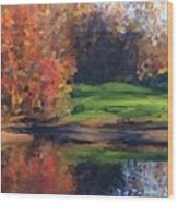 Autumn By Water Wood Print