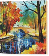 Autumn Calm 2 - Palette Knife Oil Painting On Canvas By Leonid Afremov Wood Print