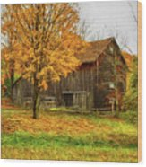 Autumn Catskill Barn Wood Print