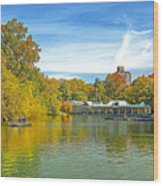 Autumn Central Park Lake And Boathouse Wood Print