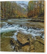 Autumn Cherry Falls Elk River Wood Print