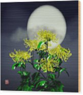 Autumn Chrysanthemums Wood Print by GuoJun Pan