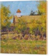 Autumn Church Taos Wood Print