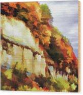 Autumn Cliffs On Way To Hannibal, Missouri Wood Print