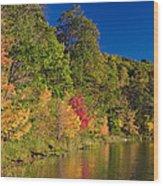 Autumn Color Trees Along Beauty Lake Wood Print