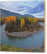 Autumn Colors Along Tanzilla River In Northern British Columbia Wood Print
