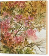 Autumn Colors And Twigs Wood Print