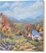 Autumn Cottage Wood Print