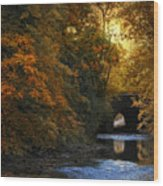 Autumn Country Bridge Wood Print by Jessica Jenney