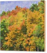 Autumn Country On A Hillside II - Digital Paint Wood Print