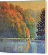 Autumn Day Rising Wood Print
