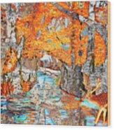 Autumn Deer Birch Background Wood Print