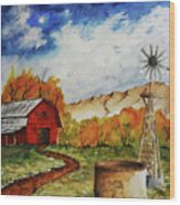 Autumn Farm Wood Print