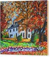 Autumn Farmhouse Wood Print