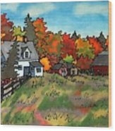 Autumn Farmstead Silk Painting Wood Print