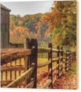 Autumn Fence Posts Scenic Wood Print