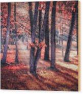 Autumn Firelight Wood Print