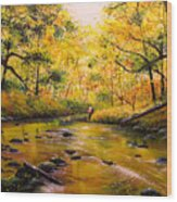 Autumn Fishing Wood Print