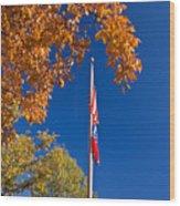 Autumn Flag Wood Print
