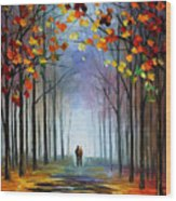 Autumn Fog 4 - Palette Knife Oil Painting On Canvas By Leonid Afremov Wood Print