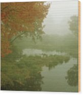 Autumn Fog Millers River Wood Print