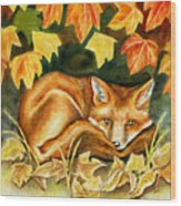 Autumn Fox Wood Print