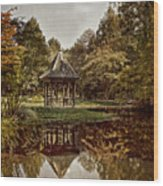 Autumn Gazebo Reflection Wood Print