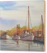 Autumn Harbor Wood Print