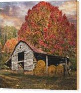 Autumn Hay Barn Wood Print