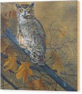 Autumn Highlights - Great Horned Owl Wood Print
