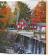 Autumn House At The Falls Wood Print