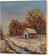 Autumn House By The Stream Wood Print