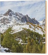 Autumn In French Alps - 18 Wood Print