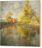 Autumn In The Pond Wood Print