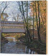 Autumn In Valley Forge - Knox Covered Bridge Wood Print