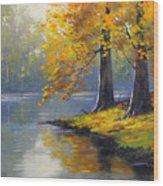 Autumn Lake Print Wood Print