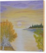 Autumn Lake Sunset  Wood Print